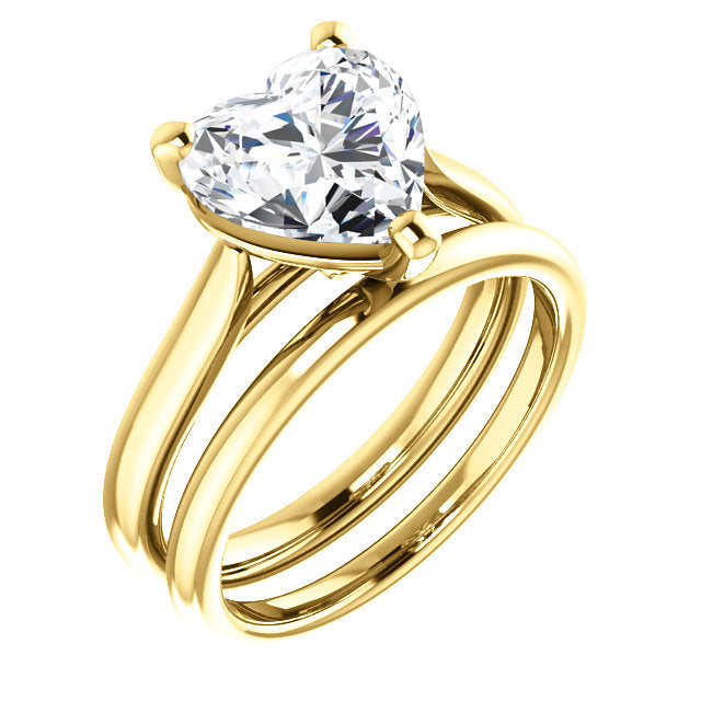 18K Yellow 9x9 mm Heart Engagement Ring Mounting* Quote does not include cost of center stone. *Prices are based on a standard melee diamond quality SI2-SI3, G-H. Exact pricing may be subject to change based on size, please contact an Ever&Ever retai