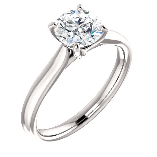 18K White 5.8 mm Round Engagement Ring Mounting* Quote does not include cost of center stone. *Prices are based on a standard melee diamond quality SI2-SI3, G-H. Exact pricing may be subject to change based on size, please contact an Ever&Ever retail
