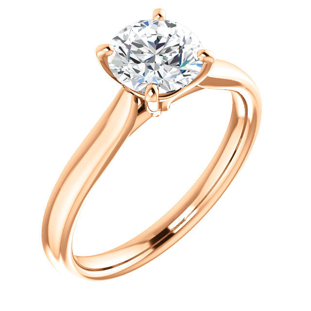 14K Rose 6 mm Round Engagement Ring Mounting* Quote does not include cost of center stone. *Prices are based on a standard melee diamond quality SI2-SI3, G-H. Exact pricing may be subject to change based on size, please contact an Ever&Ever retailer