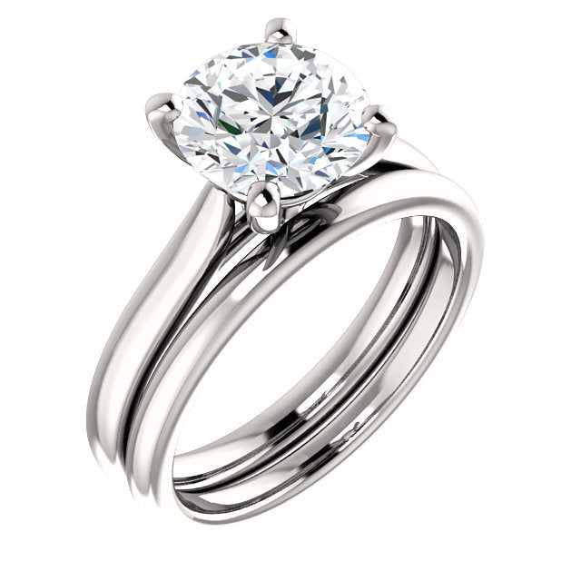 Platinum 8.2 mm Round Engagement Ring Mounting* Quote does not include cost of center stone. *Prices are based on a standard melee diamond quality SI2-SI3, G-H. Exact pricing may be subject to change based on size, please contact an Ever&Ever retaile