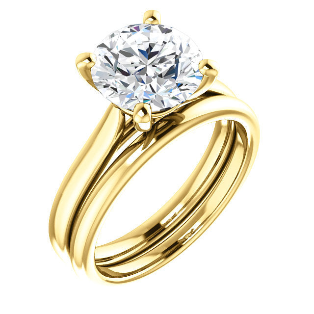 14K Yellow 8.8 mm Round Engagement Ring Mounting* Quote does not include cost of center stone. *Prices are based on a standard melee diamond quality SI2-SI3, G-H. Exact pricing may be subject to change based on size, please contact an Ever&Ever retai