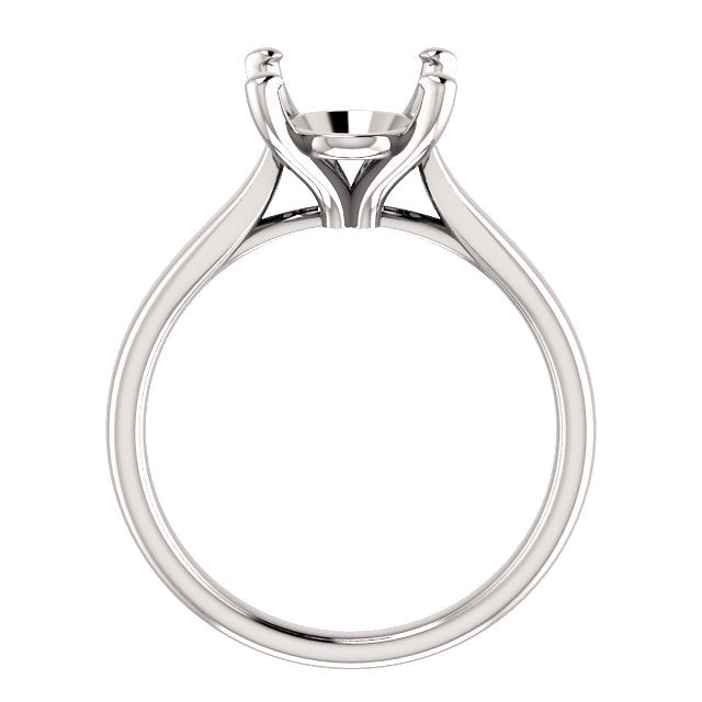 14K White 11x9 mm Oval Engagement Ring Mounting* Quote does not include cost of center stone. *Prices are based on a standard melee diamond quality SI2-SI3, G-H. Exact pricing may be subject to change based on size, please contact an Ever&Ever retail