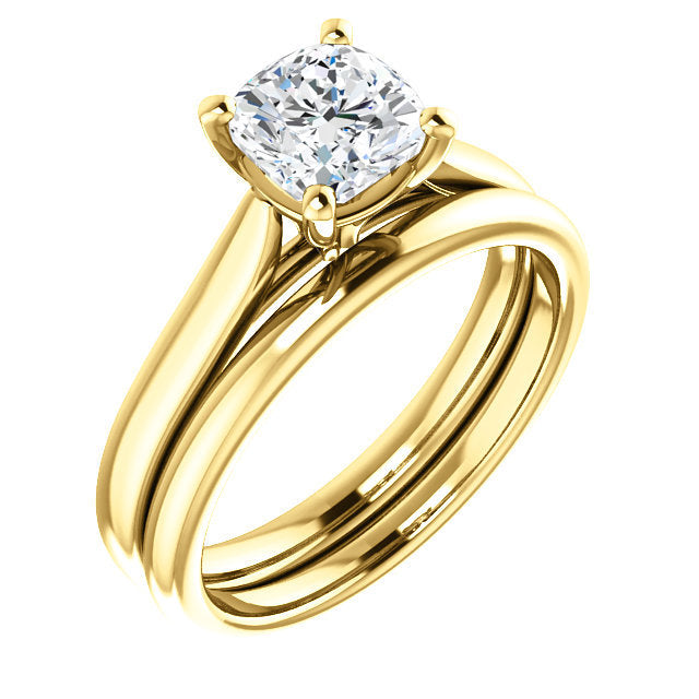 14K Yellow 6 mm Cushion Engagement Ring Mounting* Quote does not include cost of center stone. *Prices are based on a standard melee diamond quality SI2-SI3, G-H. Exact pricing may be subject to change based on size, please contact an Ever&Ever retai