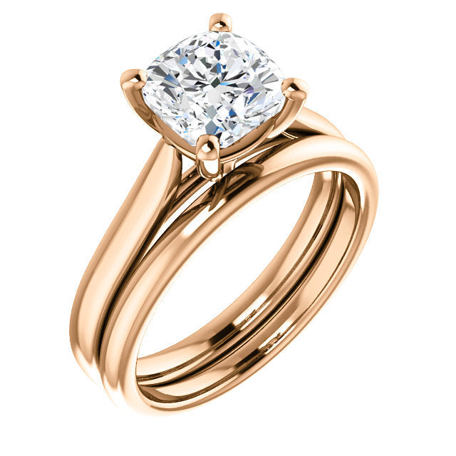 14K Rose 7 mm Cushion Engagement Ring Mounting* Quote does not include cost of center stone. *Prices are based on a standard melee diamond quality SI2-SI3, G-H. Exact pricing may be subject to change based on size, please contact an Ever&Ever retaile