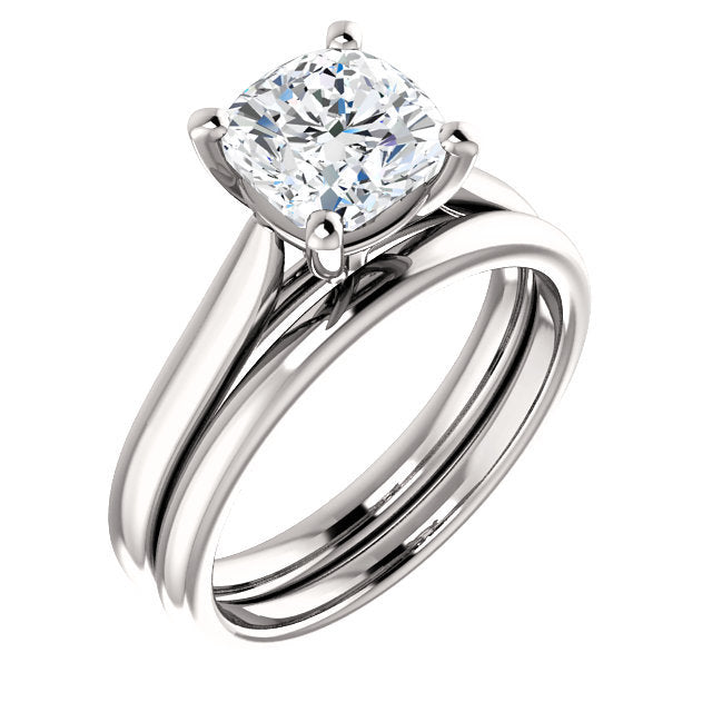 Platinum 7 mm Cushion Engagement Ring Mounting* Quote does not include cost of center stone. *Prices are based on a standard melee diamond quality SI2-SI3, G-H. Exact pricing may be subject to change based on size, please contact an Ever&Ever retaile