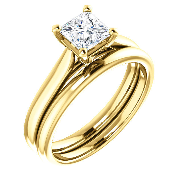18K Yellow 5 mm Square Engagement Ring Mounting* Quote does not include cost of center stone. *Prices are based on a standard melee diamond quality SI2-SI3, G-H. Exact pricing may be subject to change based on size, please contact an Ever&Ever retail
