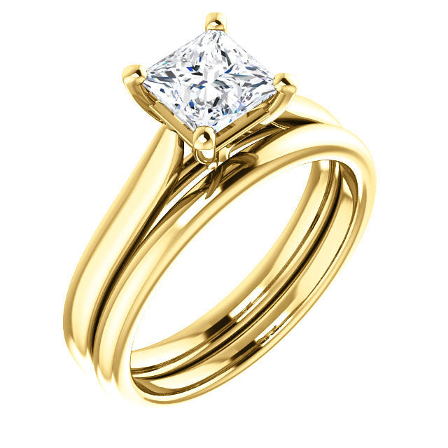 14K Yellow 5.5 mm Square Engagement Ring Mounting* Quote does not include cost of center stone. *Prices are based on a standard melee diamond quality SI2-SI3, G-H. Exact pricing may be subject to change based on size, please contact an Ever&Ever reta