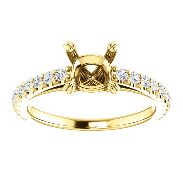 14K Yellow 6x6 mm Cushion 3/8 CTW Diamond Semi-Set Engagement Ring* Quote does not include cost of center stone. *Prices are based on a standard melee diamond quality SI2-SI3, G-H. Exact pricing may be subject to change based on size, please contact