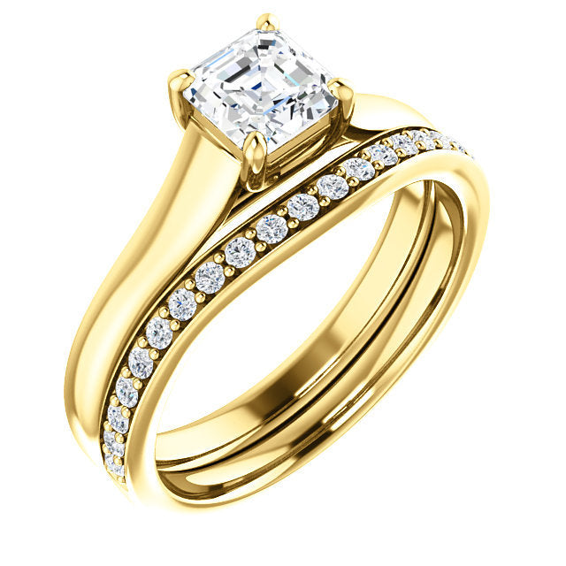 14K Yellow 5 mm Asscher Solitaire Engagement Ring Mounting* Quote does not include cost of center stone. *Prices are based on a standard melee diamond quality SI2-SI3, G-H. Exact pricing may be subject to change based on size, please contact an Ever&