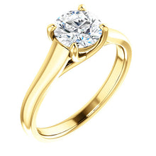 Load image into Gallery viewer, 14K Yellow 12x10 mm Oval Solitaire Engagement Ring Mounting* Quote does not include cost of center stone. *Prices are based on a standard melee diamond quality SI2-SI3, G-H. Exact pricing may be subject to change based on size, please contact an Ever