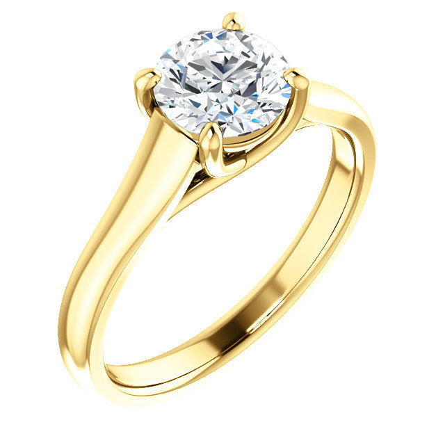 14K Yellow 6 mm Round Solitaire Engagement Ring Mounting* Quote does not include cost of center stone. *Prices are based on a standard melee diamond quality SI2-SI3, G-H. Exact pricing may be subject to change based on size, please contact an Ever&Ev
