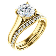 Load image into Gallery viewer, 14K Yellow 7.4 mm Round Solitaire Engagement Ring Mounting* Quote does not include cost of center stone. *Prices are based on a standard melee diamond quality SI2-SI3, G-H. Exact pricing may be subject to change based on size, please contact an Ever&