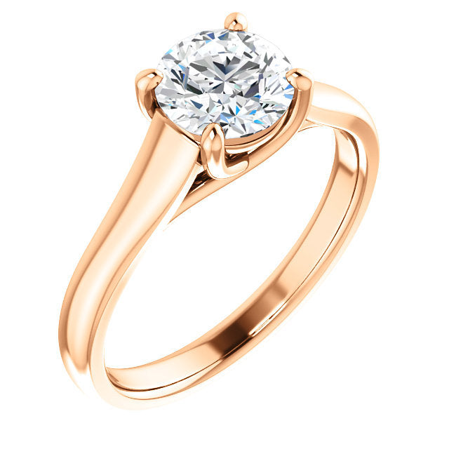 18K Rose 10 mm Round Solitaire Engagement Ring Mounting* Quote does not include cost of center stone. *Prices are based on a standard melee diamond quality SI2-SI3, G-H. Exact pricing may be subject to change based on size, please contact an Ever&Eve