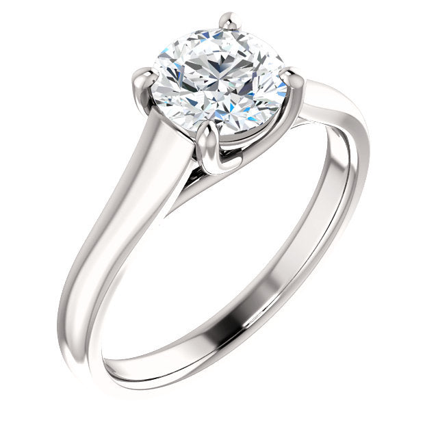 18K White 8 mm Cushion Solitaire Engagement Ring Mounting* Quote does not include cost of center stone. *Prices are based on a standard melee diamond quality SI2-SI3, G-H. Exact pricing may be subject to change based on size, please contact an Ever&E