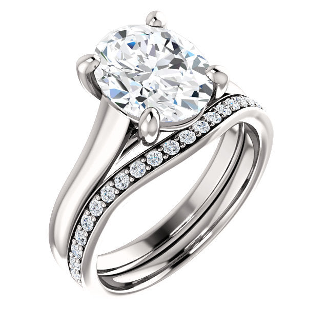 18K White 10x8 mm Oval Solitaire Engagement Ring Mounting* Quote does not include cost of center stone. *Prices are based on a standard melee diamond quality SI2-SI3, G-H. Exact pricing may be subject to change based on size, please contact an Ever&E
