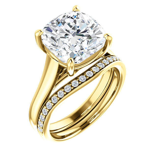 18K Yellow 10 mm Cushion Solitaire Engagement Ring Mounting* Quote does not include cost of center stone. *Prices are based on a standard melee diamond quality SI2-SI3, G-H. Exact pricing may be subject to change based on size, please contact an Ever