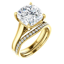 Load image into Gallery viewer, 18K Yellow 10 mm Cushion Solitaire Engagement Ring Mounting* Quote does not include cost of center stone. *Prices are based on a standard melee diamond quality SI2-SI3, G-H. Exact pricing may be subject to change based on size, please contact an Ever