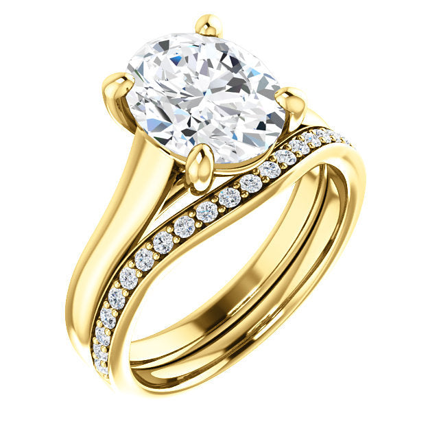 18K Yellow 10x8 mm Oval Solitaire Engagement Ring Mounting* Quote does not include cost of center stone. *Prices are based on a standard melee diamond quality SI2-SI3, G-H. Exact pricing may be subject to change based on size, please contact an Ever&