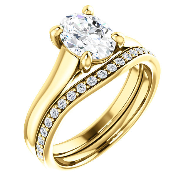 18K Yellow 8x6 mm Oval Solitaire Engagement Ring Mounting* Quote does not include cost of center stone. *Prices are based on a standard melee diamond quality SI2-SI3, G-H. Exact pricing may be subject to change based on size, please contact an Ever&E