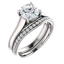 Load image into Gallery viewer, Platinum 7 mm Round Solitaire Engagement Ring Mounting* Quote does not include cost of center stone. *Prices are based on a standard melee diamond quality SI2-SI3, G-H. Exact pricing may be subject to change based on size, please contact an Ever&Ever