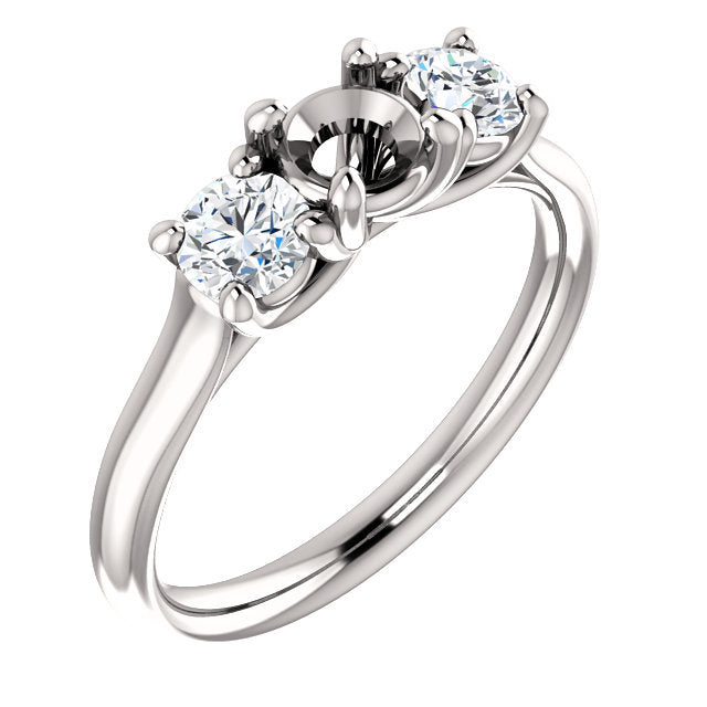 14K White 4.8 mm Round 1/2 CTW Diamond Semi-Set Engagement Ring* Quote does not include cost of center stone. *Prices are based on a standard melee diamond quality SI2-SI3, G-H. Exact pricing may be subject to change based on size, please contact an