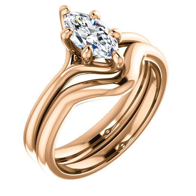 14K Rose 9x4.5 mm Marquise Engagement Ring Mounting* Quote does not include cost of center stone. *Prices are based on a standard melee diamond quality SI2-SI3, G-H. Exact pricing may be subject to change based on size, please contact an Ever&Ever re