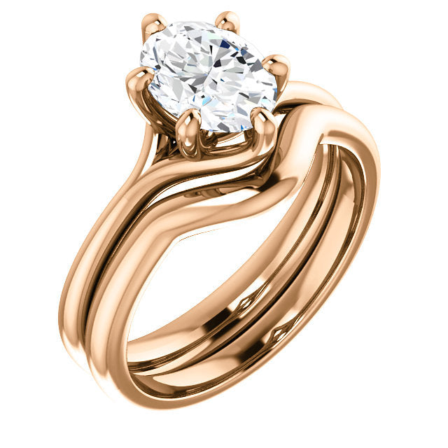14K Rose 8x6 mm Oval Engagement Ring Mounting* Quote does not include cost of center stone. *Prices are based on a standard melee diamond quality SI2-SI3, G-H. Exact pricing may be subject to change based on size, please contact an Ever&Ever retailer