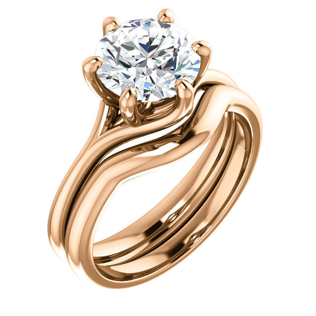 14K Rose 8 mm Round Engagement Ring Mounting* Quote does not include cost of center stone. *Prices are based on a standard melee diamond quality SI2-SI3, G-H. Exact pricing may be subject to change based on size, please contact an Ever&Ever retailer