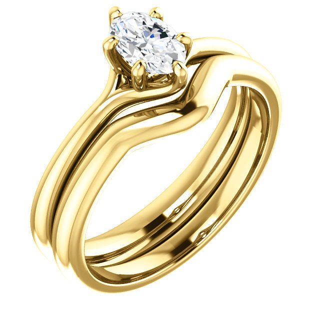 14K Yellow 6x4 mm Oval Engagement Ring Mounting* Quote does not include cost of center stone. *Prices are based on a standard melee diamond quality SI2-SI3, G-H. Exact pricing may be subject to change based on size, please contact an Ever&Ever retail