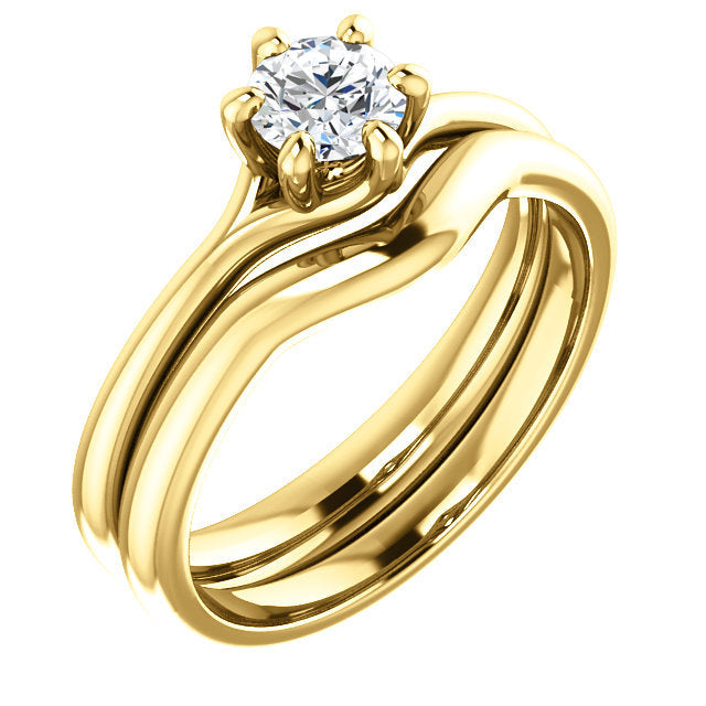 14K Yellow 4.8 mm Round Engagement Ring Mounting* Quote does not include cost of center stone. *Prices are based on a standard melee diamond quality SI2-SI3, G-H. Exact pricing may be subject to change based on size, please contact an Ever&Ever retai