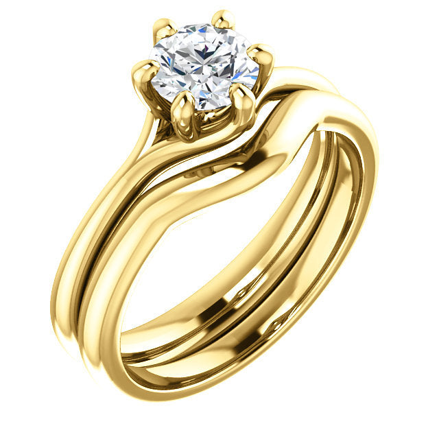 14K Yellow 5.5 mm Round Engagement Ring Mounting* Quote does not include cost of center stone. *Prices are based on a standard melee diamond quality SI2-SI3, G-H. Exact pricing may be subject to change based on size, please contact an Ever&Ever retai