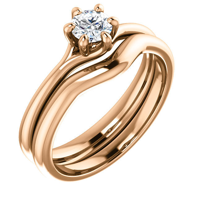 18K Rose 4.4 mm Round Engagement Ring Mounting* Quote does not include cost of center stone. *Prices are based on a standard melee diamond quality SI2-SI3, G-H. Exact pricing may be subject to change based on size, please contact an Ever&Ever retaile