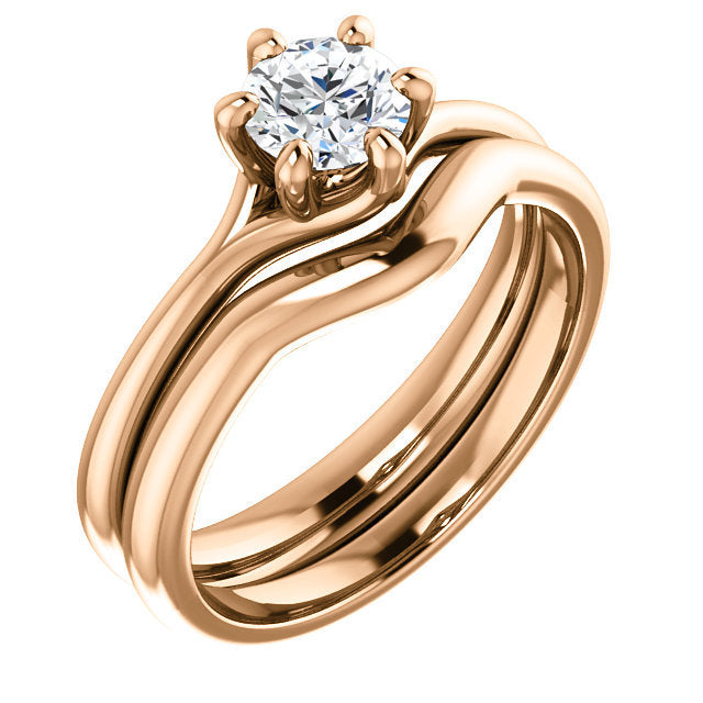 18K Rose 5.2 mm Round Engagement Ring Mounting* Quote does not include cost of center stone. *Prices are based on a standard melee diamond quality SI2-SI3, G-H. Exact pricing may be subject to change based on size, please contact an Ever&Ever retaile