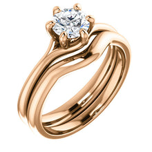 Load image into Gallery viewer, 18K Rose 5.5 mm Round Engagement Ring Mounting* Quote does not include cost of center stone. *Prices are based on a standard melee diamond quality SI2-SI3, G-H. Exact pricing may be subject to change based on size, please contact an Ever&Ever retaile