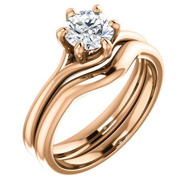 18K Rose 5.8 mm Round Engagement Ring Mounting* Quote does not include cost of center stone. *Prices are based on a standard melee diamond quality SI2-SI3, G-H. Exact pricing may be subject to change based on size, please contact an Ever&Ever retaile