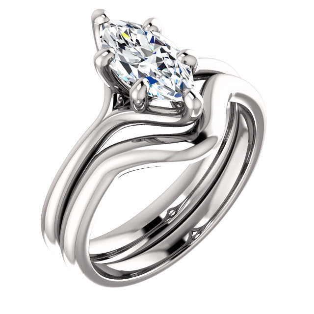 18K White 10x5 mm Marquise Engagement Ring Mounting* Quote does not include cost of center stone. *Prices are based on a standard melee diamond quality SI2-SI3, G-H. Exact pricing may be subject to change based on size, please contact an Ever&Ever re