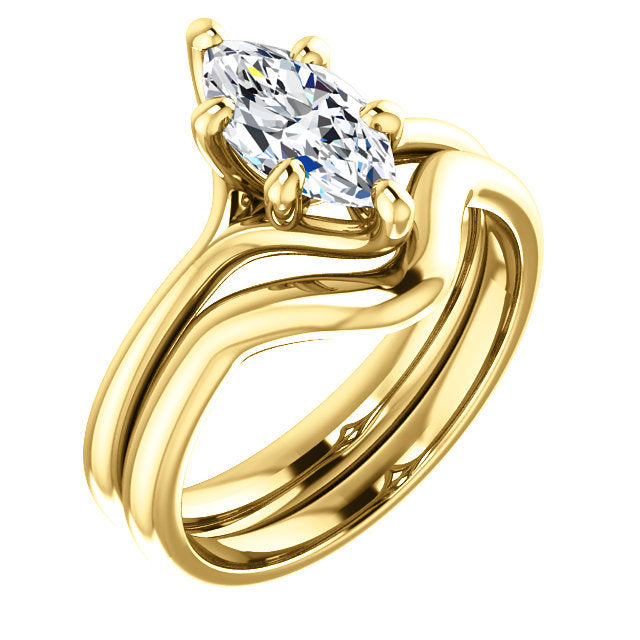 18K Yellow 10x5 mm Marquise Engagement Ring Mounting* Quote does not include cost of center stone. *Prices are based on a standard melee diamond quality SI2-SI3, G-H. Exact pricing may be subject to change based on size, please contact an Ever&Ever r