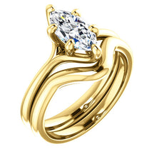 Load image into Gallery viewer, 18K Yellow 10x5 mm Marquise Engagement Ring Mounting* Quote does not include cost of center stone. *Prices are based on a standard melee diamond quality SI2-SI3, G-H. Exact pricing may be subject to change based on size, please contact an Ever&Ever r