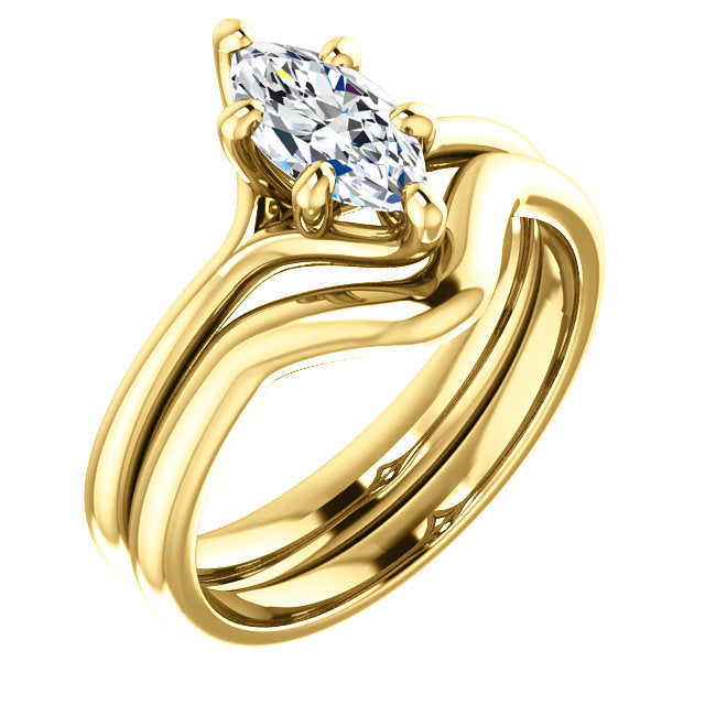 18K Yellow 9x4.5 mm Marquise Engagement Ring Mounting* Quote does not include cost of center stone. *Prices are based on a standard melee diamond quality SI2-SI3, G-H. Exact pricing may be subject to change based on size, please contact an Ever&Ever