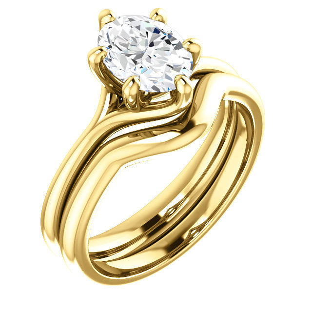 18K Yellow 8x6 mm Oval Engagement Ring Mounting* Quote does not include cost of center stone. *Prices are based on a standard melee diamond quality SI2-SI3, G-H. Exact pricing may be subject to change based on size, please contact an Ever&Ever retail