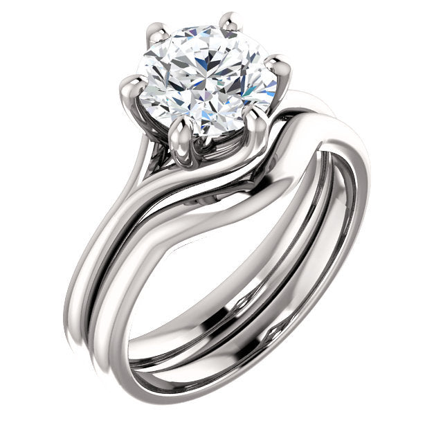 Platinum 7.4 mm Round Engagement Ring Mounting* Quote does not include cost of center stone. *Prices are based on a standard melee diamond quality SI2-SI3, G-H. Exact pricing may be subject to change based on size, please contact an Ever&Ever retaile