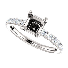 Load image into Gallery viewer, Platinum 6x6 mm Asscher 1/2 CTW Diamond Semi-Set Engagement Ring* Quote does not include cost of center stone. *Prices are based on a standard melee diamond quality SI2-SI3, G-H. Exact pricing may be subject to change based on size, please contact an