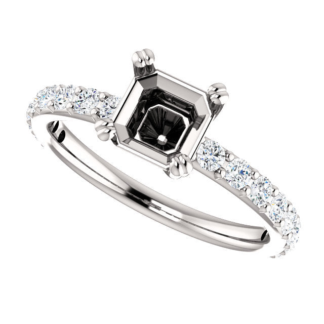 Platinum 6x6 mm Asscher 1/2 CTW Diamond Semi-Set Engagement Ring* Quote does not include cost of center stone. *Prices are based on a standard melee diamond quality SI2-SI3, G-H. Exact pricing may be subject to change based on size, please contact an