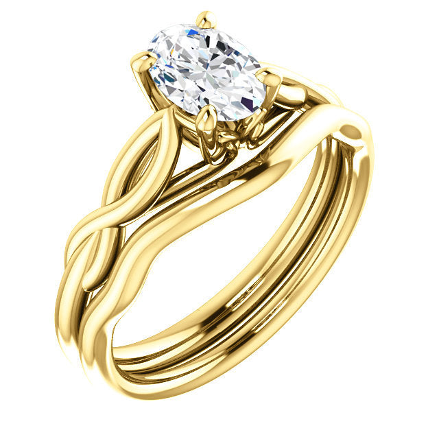 14K Yellow  7x5 mm Oval Solitaire Engagement Ring Mounting* Quote does not include cost of center stone. *Prices are based on a standard melee diamond quality SI2-SI3, G-H. Exact pricing may be subject to change based on size, please contact an Ever&