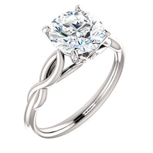 Load image into Gallery viewer, 18K White  8 mm Cushion Solitaire Engagement Ring Mounting* Quote does not include cost of center stone. *Prices are based on a standard melee diamond quality SI2-SI3, G-H. Exact pricing may be subject to change based on size, please contact an Ever&