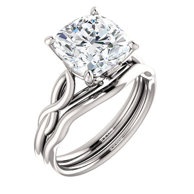 Platinum  9 mm Cushion Solitaire Engagement Ring Mounting* Quote does not include cost of center stone. *Prices are based on a standard melee diamond quality SI2-SI3, G-H. Exact pricing may be subject to change based on size, please contact an Ever&E