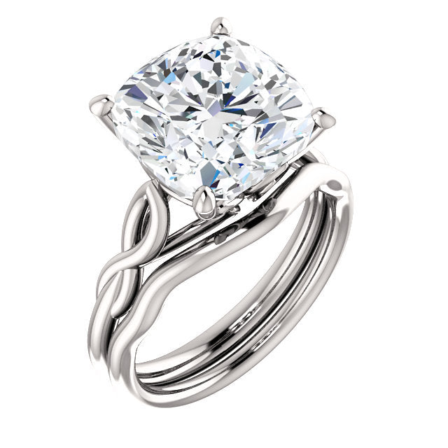 18K White  11 mm Cushion Solitaire Engagement Ring Mounting* Quote does not include cost of center stone. *Prices are based on a standard melee diamond quality SI2-SI3, G-H. Exact pricing may be subject to change based on size, please contact an Ever