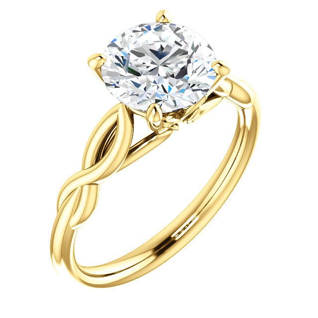 18K Yellow  12 mm Cushion Solitaire Engagement Ring Mounting* Quote does not include cost of center stone. *Prices are based on a standard melee diamond quality SI2-SI3, G-H. Exact pricing may be subject to change based on size, please contact an Eve