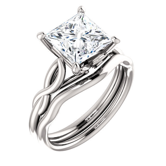 18K White  7.5 mm Square Solitaire Engagement Ring Mounting* Quote does not include cost of center stone. *Prices are based on a standard melee diamond quality SI2-SI3, G-H. Exact pricing may be subject to change based on size, please contact an Ever
