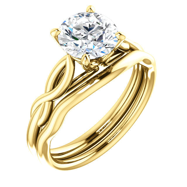 18K Yellow  7.4 mm Round Solitaire Engagement Ring Mounting* Quote does not include cost of center stone. *Prices are based on a standard melee diamond quality SI2-SI3, G-H. Exact pricing may be subject to change based on size, please contact an Ever